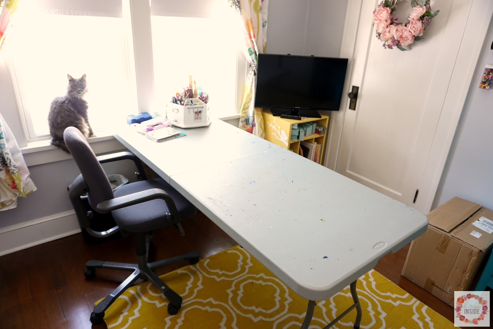 I Use A Large, Long Folding Table As My Craft Table In The Room. I Always  Had/have The Best Intention To Make It Cute By Adding A Skirt But Iu0027ve  Never Been ...