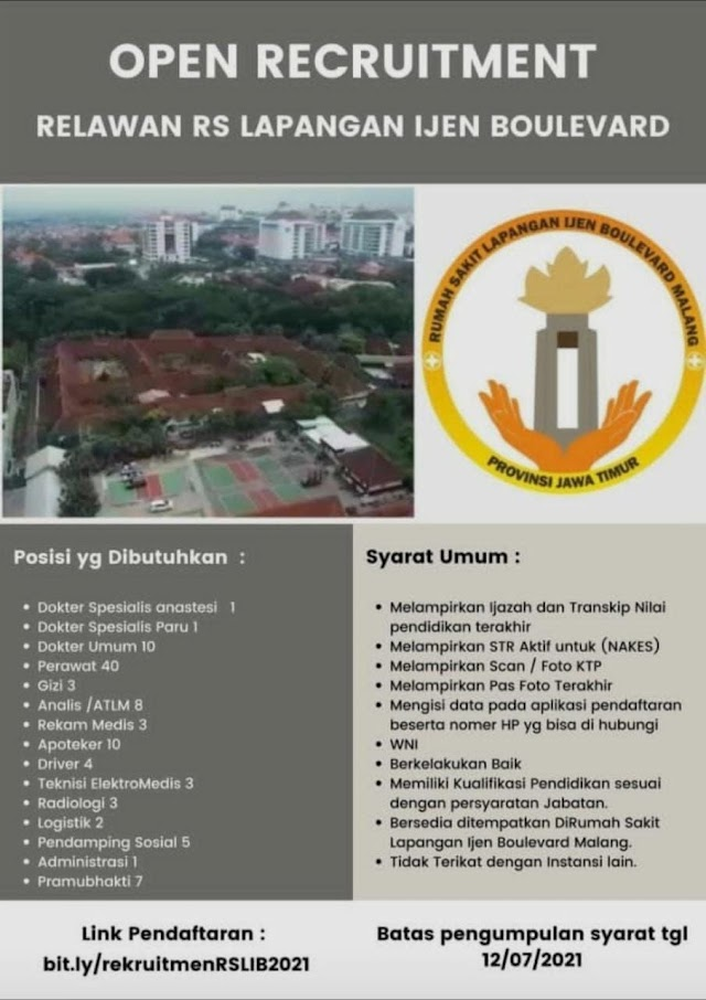 Open Recruitment Relawan RS Lapangan Ijen Boulevard Malang, Jawa Timur