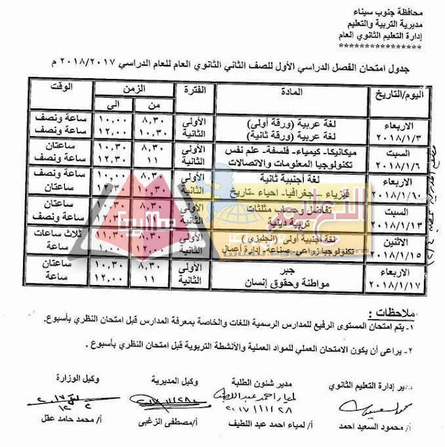 جدول امتحان نصف العام جنوب سيناء 2018 الصف الثاني الثانوي