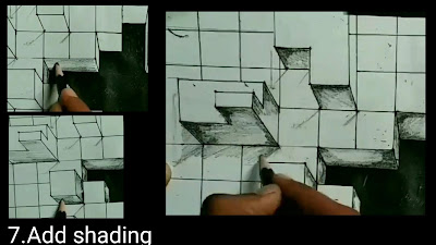 Step by step tutorials for to draw walls , draw shadow to the boxes