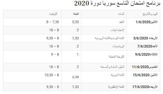 برنامج امتحان التاسع 2020 سوريا