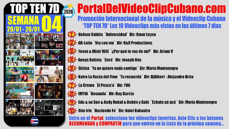 Artistas ganadores del * TOP TEN 7D * con los 10 Videoclips más vistos en la semana 04 (20/01 a 26/01 de 2020) en el Portal Del Vídeo Clip Cubano