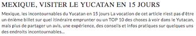 Mexique, visiter le Yucatan en 15 jours, itinéraire