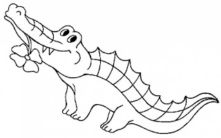 Adorable Baby Crocodile With Flower Coloring Pages