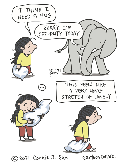 Sketchbook cartoon about feeling alone and loneliness, elephant comic strip, illustration by Connie Sun, cartoonconnie