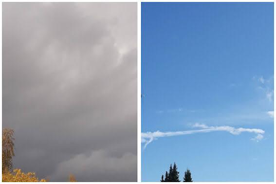 Yhdistetty kahden kuvan näkymistä: synkeän pilvisenä ja kirkkaan sinisenä.