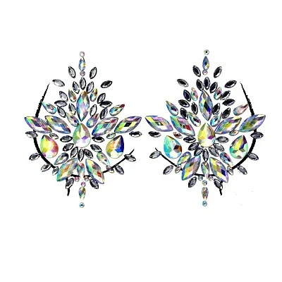 Body Jewels Tattoo Rhinestone Stickers Body Gems Glitter Self-Adhesive Chest Decals Crystal Flash Mermaid Bindi Gemstone Decoration for Women Music Rave Party, Halloween, Carnival