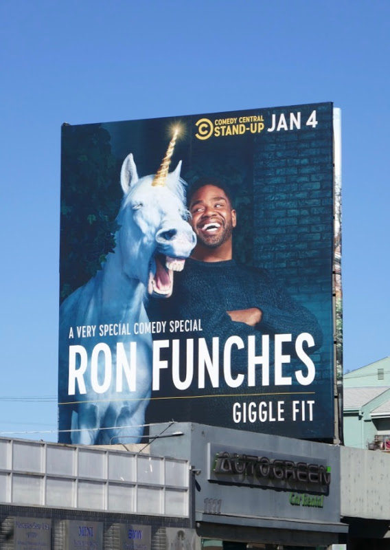 Ron Funches Giggle Fit unicorn billboard