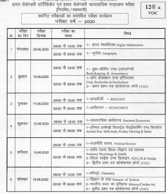 MPBSE 12th Exam Time Table June 2020