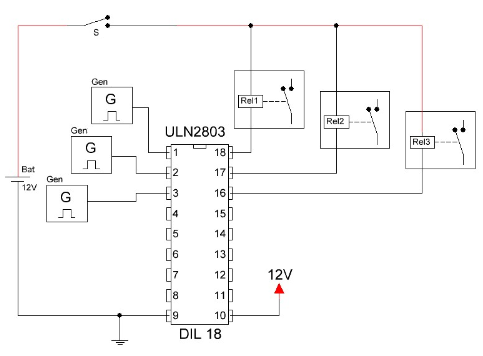 Circuito integrado ULN2803 salida con relay.