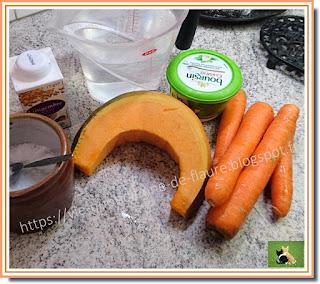 Vie quotidienne de FLaure : Velouté crémeux potiron, carotte au gingembre