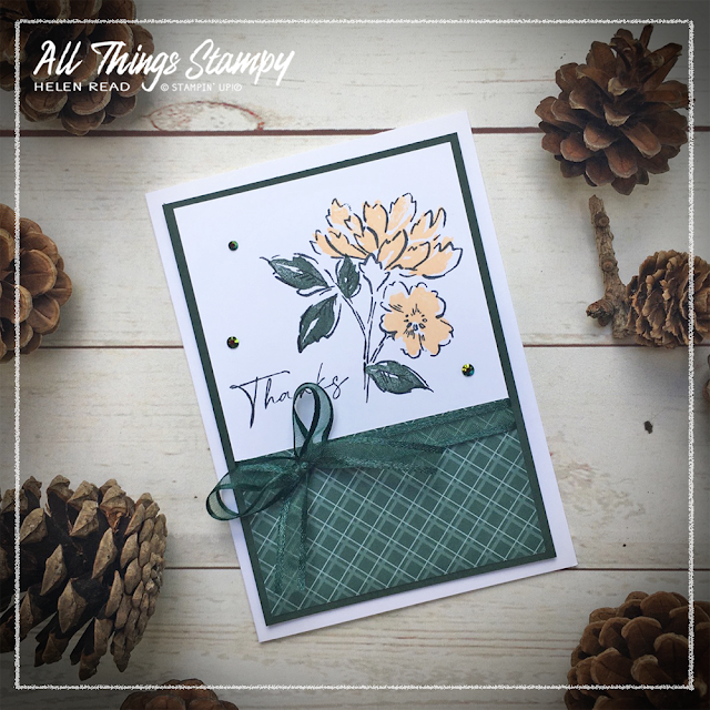 Stampin Up card made with Evening Evergreen  In Colors 2021 Hand Penned Petals