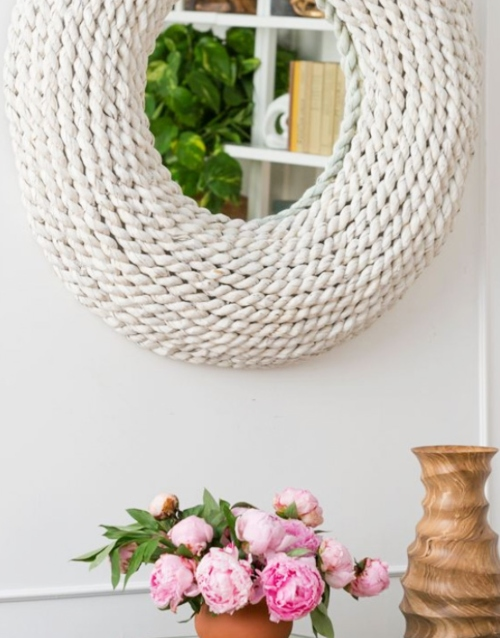 White Round Rope Mirror