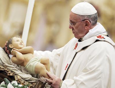 imagem do Papa Francisco com o Menino Jesus