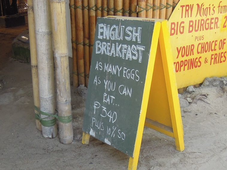 A sign outside a restaurant in Boracay
