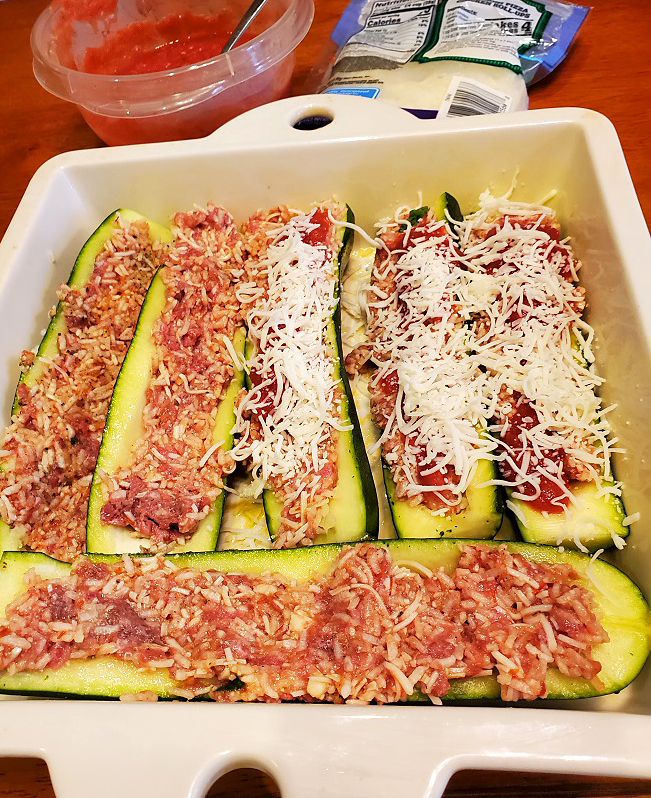 this is stuffed zucchini with rice and beef