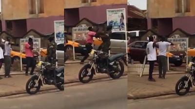 LOCKDOWN SAGA: Watch Video, Man push soldier for punishing him In kumasi, Ghana