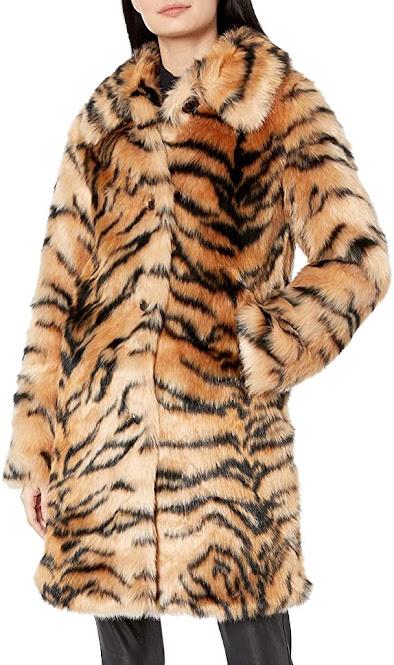 Tiger Pattern Faux Fur Coats Jackets for Women