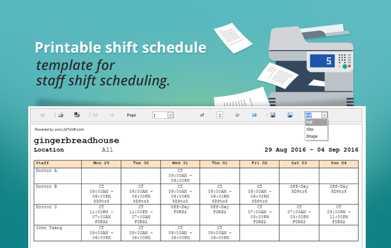 Printable shift schedule template for staff shift scheduling ...