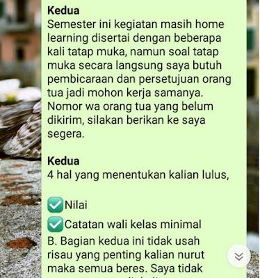 Informasi Pertama yang Saya Sampaikan Kepada Kelas 12 IPA SMA Kasih Karunia Jakarta Lewat Whatsapp Grup