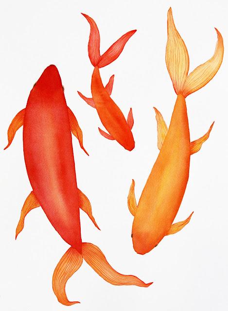 watercolor, watercolor goldfish, goldfish, Anne Butera, My Giant Strawberry