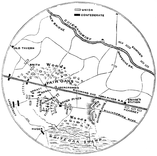 Map of Battle of Fair Oaks; image from USHistoryImages.com