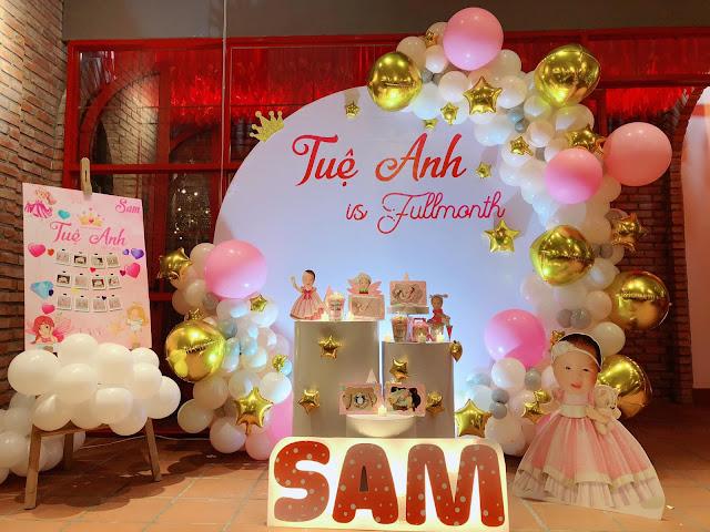 Trang trí sinh nhật bé gái tại nhà Ba Đình