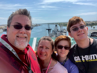 David Brodosi and family on the top of the cruise ship.