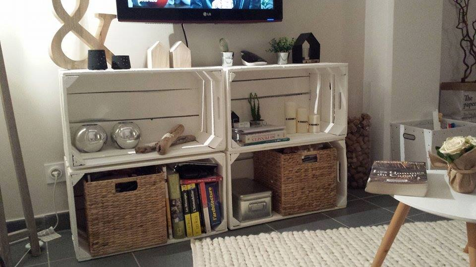 Mueblesdepalets.net: 4 Muebles para la TV con cajas de fruta
