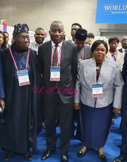 Goodluck Jonathan And His Wife Patience Pose With Obasanjo In South Korea (Photo)
