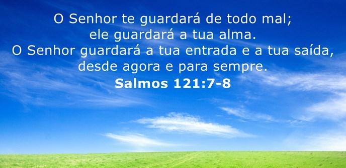O Senhor te guardará de todo mal; ele guardará a tua alma. O Senhor guardará a tua entrada e a tua saída, desde agora e para sempre.