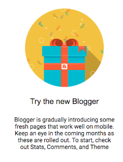 """Reproduction of the invitation from Google to """"try  the new blogger."""""""