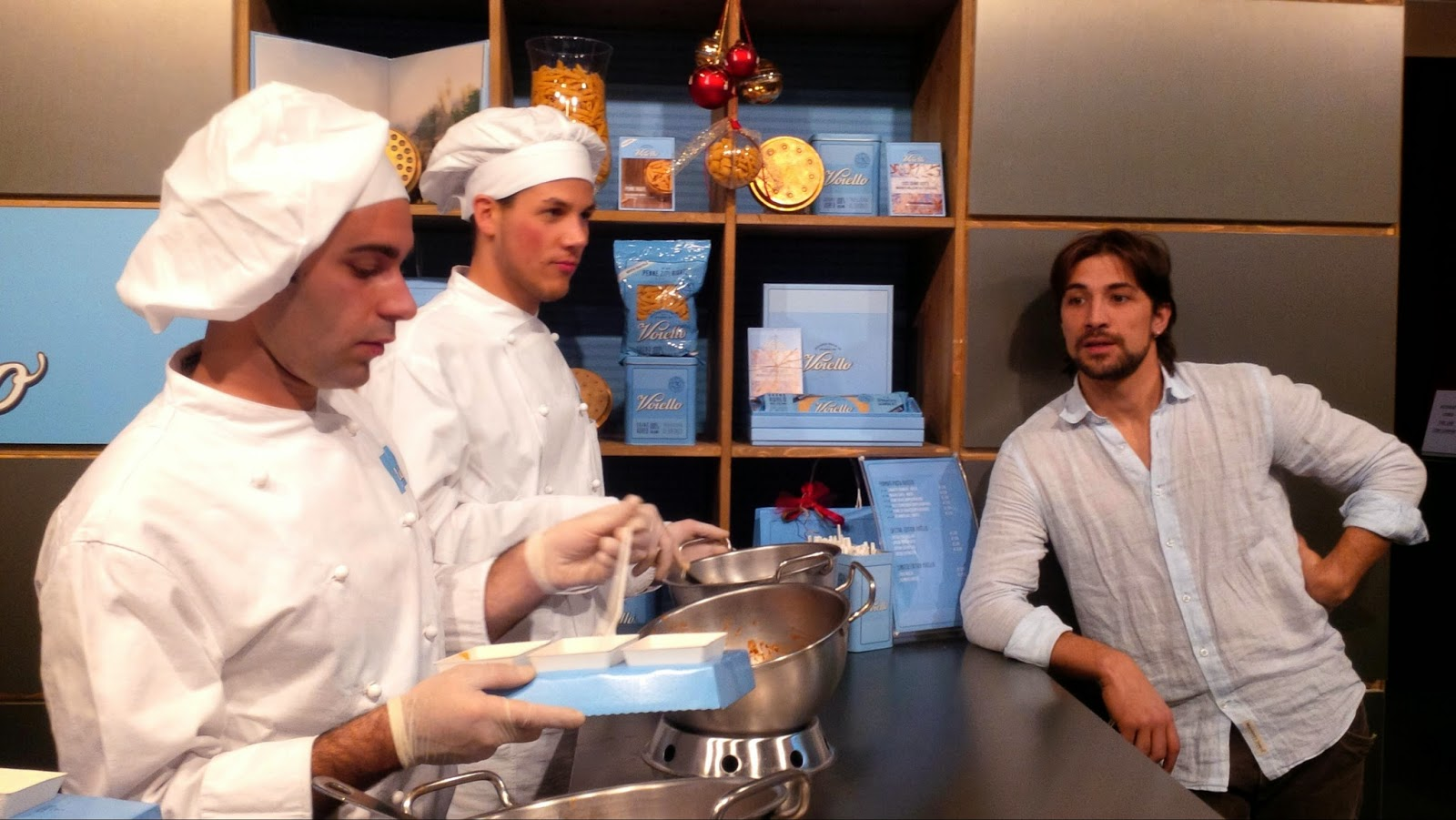 Three gusy and their pasta at Taste of Christmas event