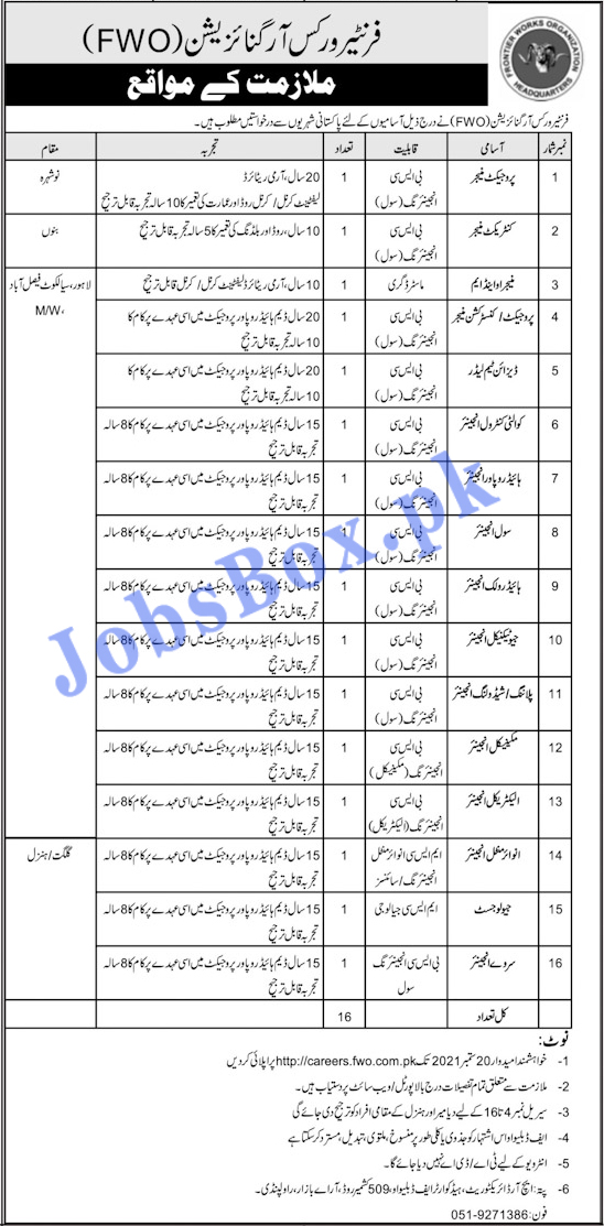 Frontier Works Organization FWO Jobs 2021 Online Registration / Application | How to Apply Online
