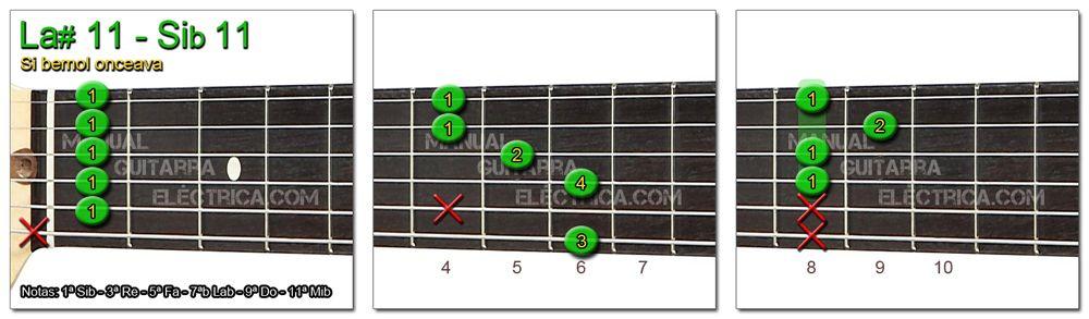 Acordes Guitarra Si Bemol onceava