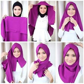 Cara memakai jilbab segi empat simple dan modis
