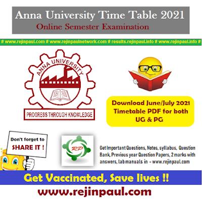 Anna University Time Table 2021 April May UG PG