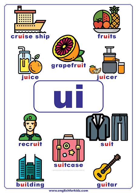 ui words - printable vowel teams poster - English phonics
