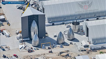 Lots of Starship nosecones being fabricated (Source: RGV Aerial Photography)