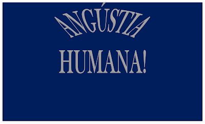 A imagem de fundo azul escuro e caracteres nas cores cinza: diz a palavra angústia humana! A imagem procura explicar como seria a angústia na alma humana.