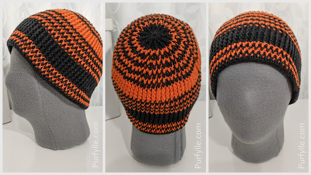 Crochet Beanie With Stretch - side, back, front