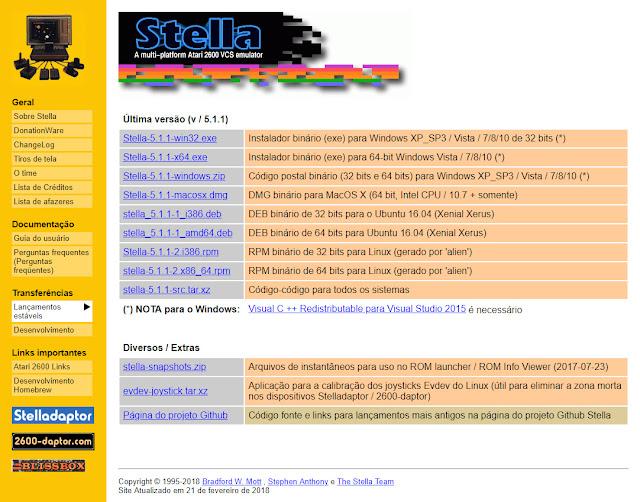 Site do emulador Stella