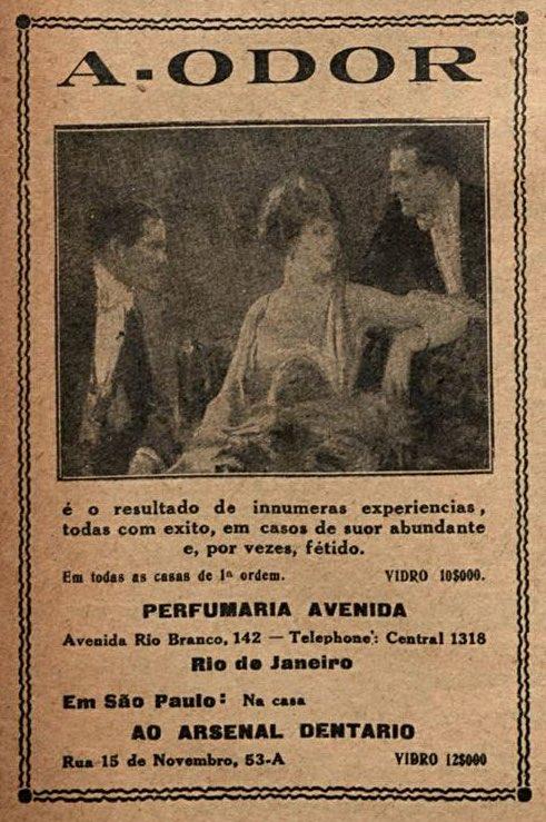 Propaganda antiga do desodorante A-Odor veiculada nos anos 1920