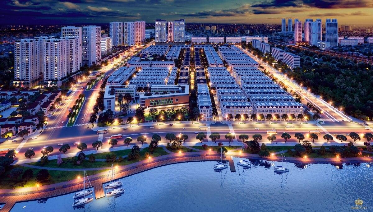 Khu đô thị Louis City Hoàng Mai về đêm