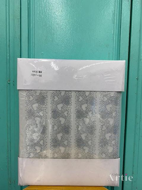 Hotfix stickers dmc rhinestone aplikasi tudung bawal fabrik pakaian bentuk 3 hati berbagai warna silver hitam