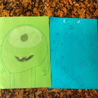 Mike and Sulley Drawings by PippaD and Daddy