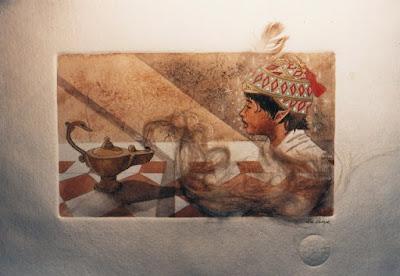 djinn, atelier colpin, papier cuve, aquarelle, génie, lampe, illustration