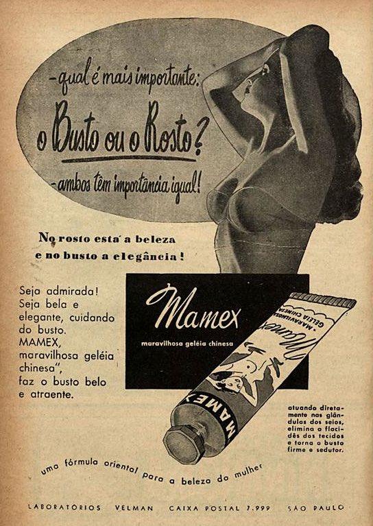 Propaganda antiga do Mamex para cuidado da pele do rosto e dos seios das mulheres em 1952