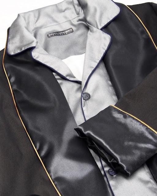 klassischer herren morgenmantel seide baumwolle schwarz englischer schlafanzug pyjama hausmantel dressing gown herrenhausmantel lang elegant