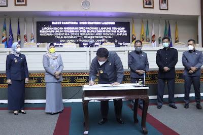Gubernur Arinal Tandatangani MOU KUPA dan PPAS Perubahan APBD Provinsi Lampung TA 2021